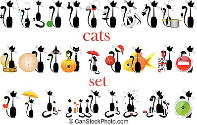 set of cats. vector. isolated