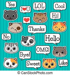 Set of cats with speech bubbles