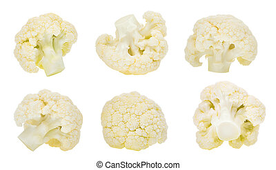 set of cauliflower vegetable isolated on white background