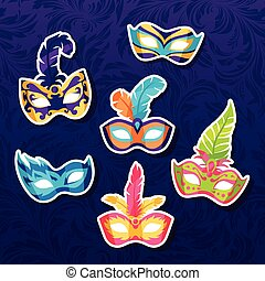 Set of celebration festival carnival masks stickers