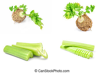 Set of celery on a white background cutout