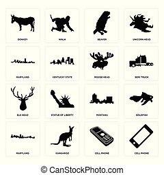 Set of cell phone, maryland, montana, elk head, moose beaver, donkey icons