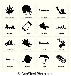 Set of cell phone, stork, maryland, jamaica, semi truck, goldfish, montana, marijuana leaf icons