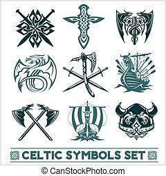 Set of Celtic symbols icons vector.