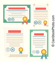 Set of certificate icon. Certificate with golden award badge. Flat vector illustration isolated on white background