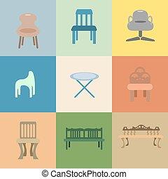 Set of chair vector cartoon