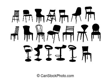 Set of chairs silhouette images, simple design