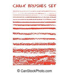 Set of chalk brushes.