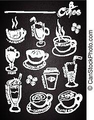 Set of chalk hand drawing coffee