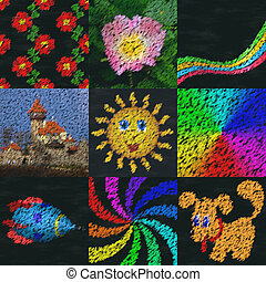 Set of chalk image generated backgrounds