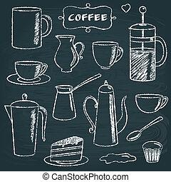 Set of chalkboard coffee items