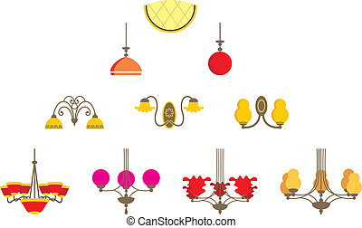Set of chandeliers - Vector illustration. It is created in...