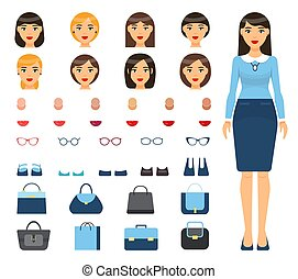 Set of changeable elements, constructor with woman, different haircuts, accessories, skin types