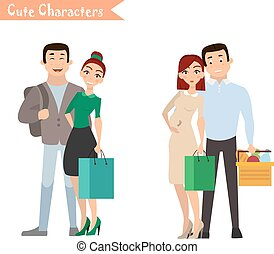 Set of characters and people shopping.
