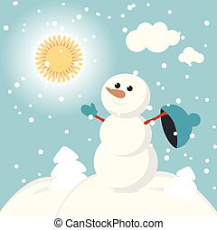 set of characters funny kids  winter snow vector 2015