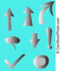 Set of characters - gray gradient on arrows, cursor, exclamation mark, blue background, isolated characters drawn by hand