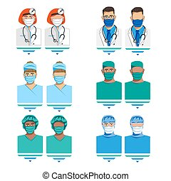 Set of characters of doctors in medical masks