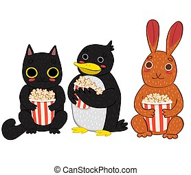 Set of characters with popcorn isolated on a white background.