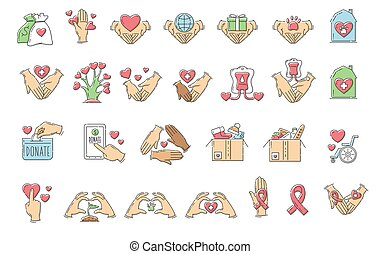 Set of charity and donation icons the sketch vector illustration isolated.