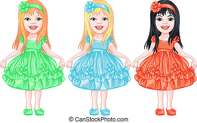 set of charming little girls in fancy dresses