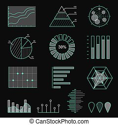 Set of chart icons in thin lines. Infographic outlined design elements collection on black background for presentation, booklet, websitee, etc. Vector illustration.