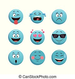 Set of chat emoticons with facial expressions