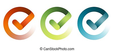 Set of check mark icon. Vector illustration