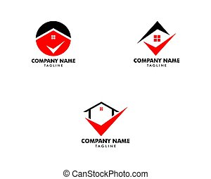 Set of Check Mark Real Estate Logo Template