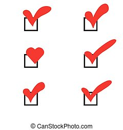 Set of check marks in red hearts