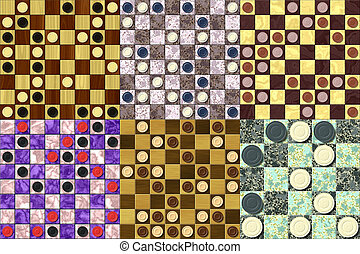 Set of checkerboard generated seamless texture