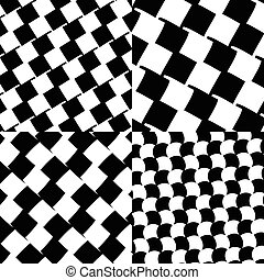 Set of checkered / black-white patterns