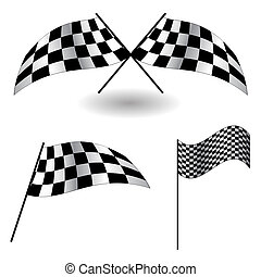Set of checkered Flags. Vector Illustration.