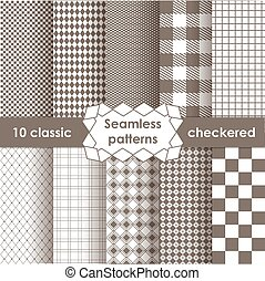 Set of checkered simple fabric seamless pattern