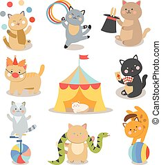 Set of cheerful circus playing cats  illustration.