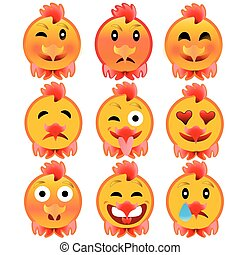 Set of cheerful cock emotions. Icons to the fire, the rooster.