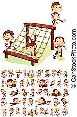 Set of cheerful monkey