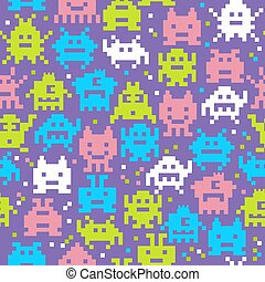 Set of cheerful pixel monsters seamless pattern