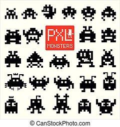 Set of cheerful pixel monsters