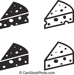 Set of cheese icon, vector object