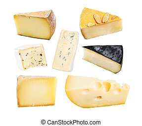 Set of cheese isolated on a white background