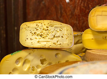 Set of cheese on a wooden board