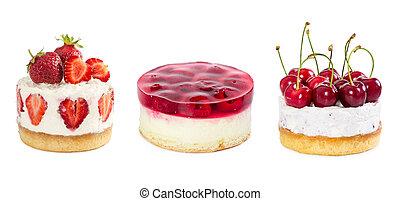 Set of cheesecake isolated on white
