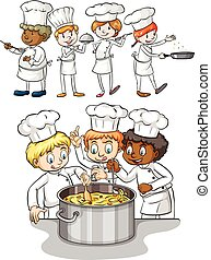 Set of chef cooking illustration