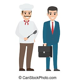 Set of Chef Food and Manager. Smiling Persons - Chef food in...