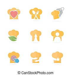 Set of chef hat logo combination. Kitchen and cooking symbol or icon. Unique bakery and restaurant logotype design template.