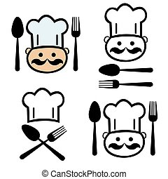 set of  chef with fork and spoon