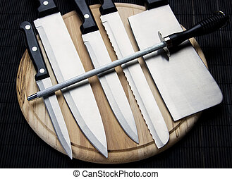 Set of chef's knives - Set of kitchen or chef's knives on...