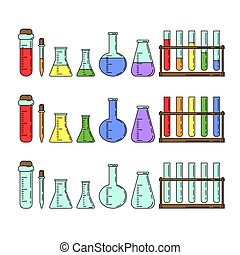 Set of chemical flasks in cartoon style