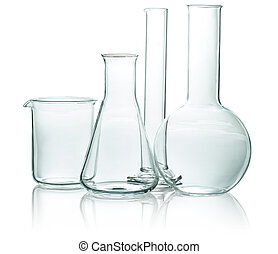 set of chemical glassware isolated on white background