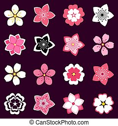 Set of cherry blossom, flowers icons